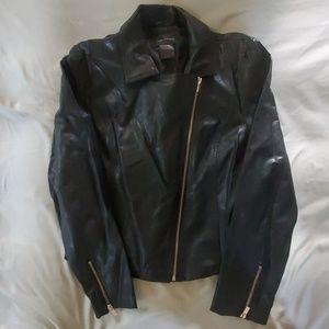 Black Imitation Leather Jacket.